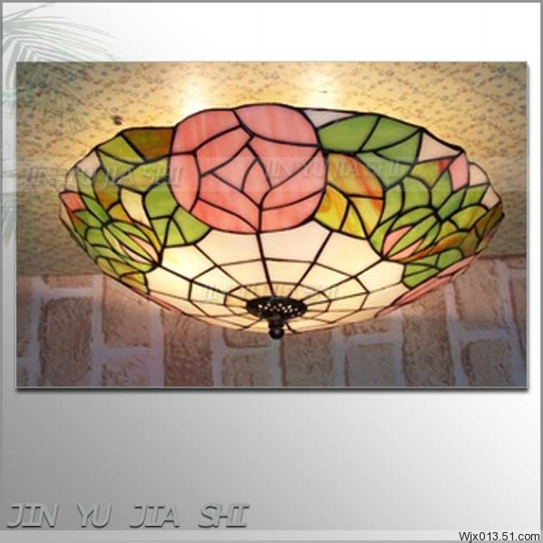 European Baroque flower 16 inch  E27 110-240V Pastoral Ceiling Light Tiffany Round Glass Lampshade lamparas de techo abajurEuropean Baroque flower 16 inch  E27 110-240V Pastoral Ceiling Light Tiffany Round Glass Lampshade lamparas de techo abajur
