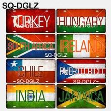 [SQ-DGLZ] turquia/hungria/áfrica do sul/irlanda/chile/porto rico/índia/jamaica bandeira nacional sinal de metal artesanato placas