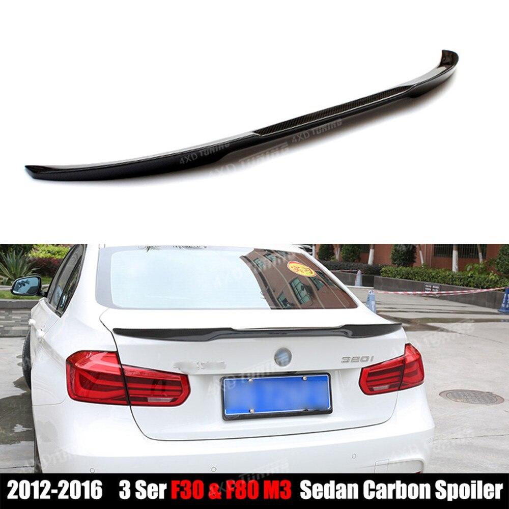M4 Style For BMW F30 Spoiler 3 Series F30 316i 318i 320i 328i 335i 326d F80 M3 Carbon Fiber Trunk Wing Rear Spoiler Wing 2012-UP for bmw f20 spoiler ac style bmw 1 series f20 f21 carbon fiber rear roof spoiler 116i 120i 118i m135i 2014 2015 2016 2017
