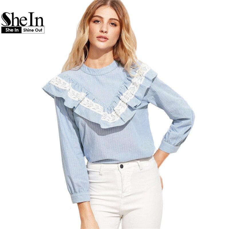 SheIn Женщины Топы и Блузки 2017 Новая Мода С Длинным Рукавом Милые Женщины Топы Синий Вертикальная Полосатый Кружевной Отделкой Рюшами Блузка