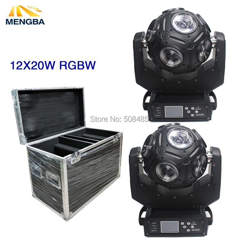 2pcs 12X20W RGBW Led Beam Football Moving Head Light LED Effect Y Axis Endless Rotation DJ Disco Ball Light With Flightcase