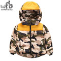 Retail 2-8 years children Down jacket Camouflage Hooded full-sleeves Keep warm coat lovely kids spring autumn fall winter