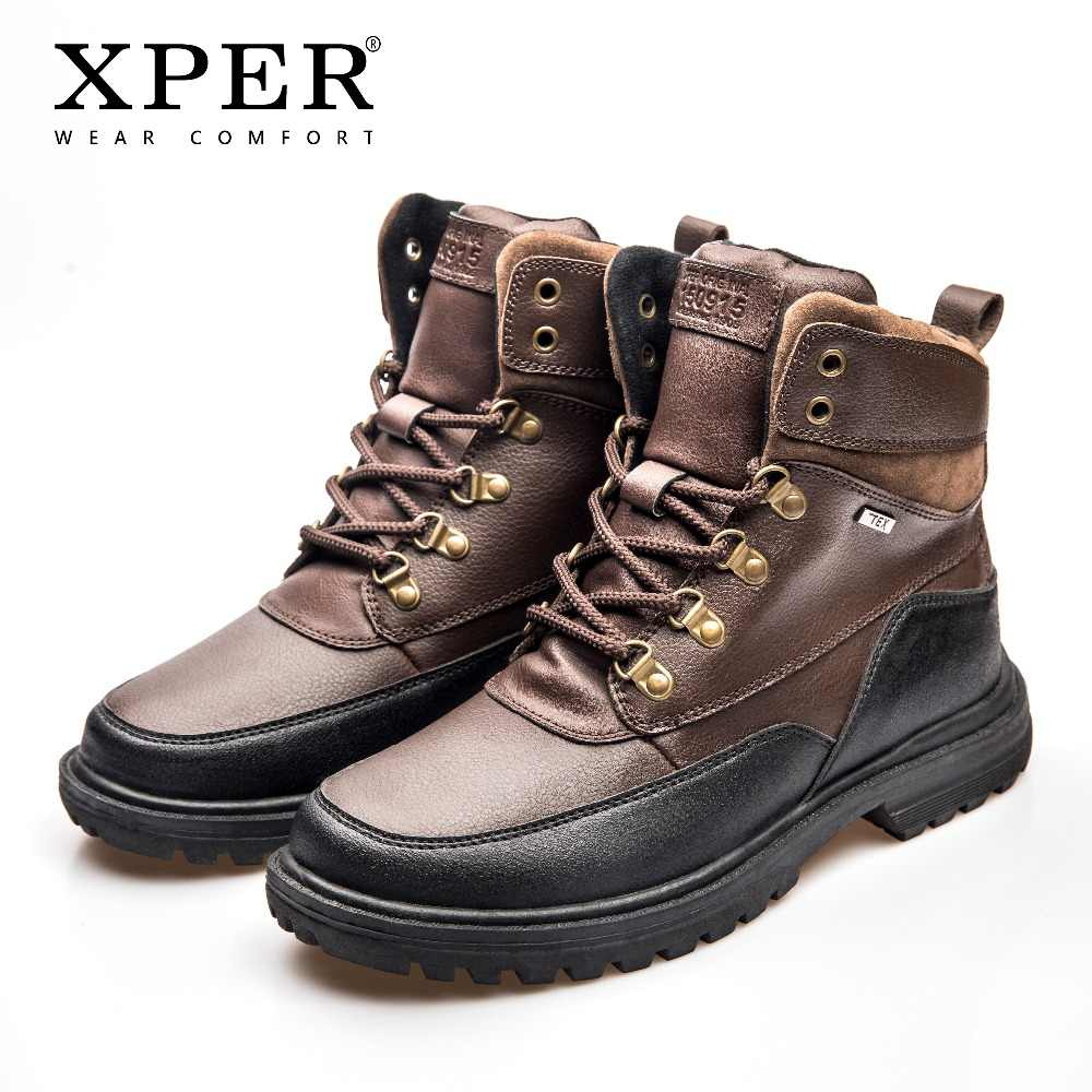 f59bc77b91d XPER Brand TEX Waterproof Boots Men Warm Winter Shoes Leather Safety Work  Sneakers Footwear Motorcycle Outdoor Boots #XHY41480BR