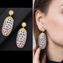 SisCathy Trendy Womens Earrings in Jewelry Charms Full Cubic Zirconia Dangle Drop Statement african 2019