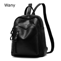 Wany Brand Backpacks 2017 New Leather Soft Solid Backpack Women Fashion Big School Shoulder Bags Mochila