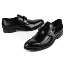 QYFCIOUFU Fashion Oxford Business Men Shoes Hasp Slip-on Men Formal Shoes Pointed Toe Luxury Brand Genuine Leather Shoes Formal