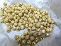 100 adet 6 8 10 12mm Alaşım Rhinestone Spacer yuvarlak top Bağlayıcı sideways Boncuk altın, gül altın, gümüş, tunç, hematit