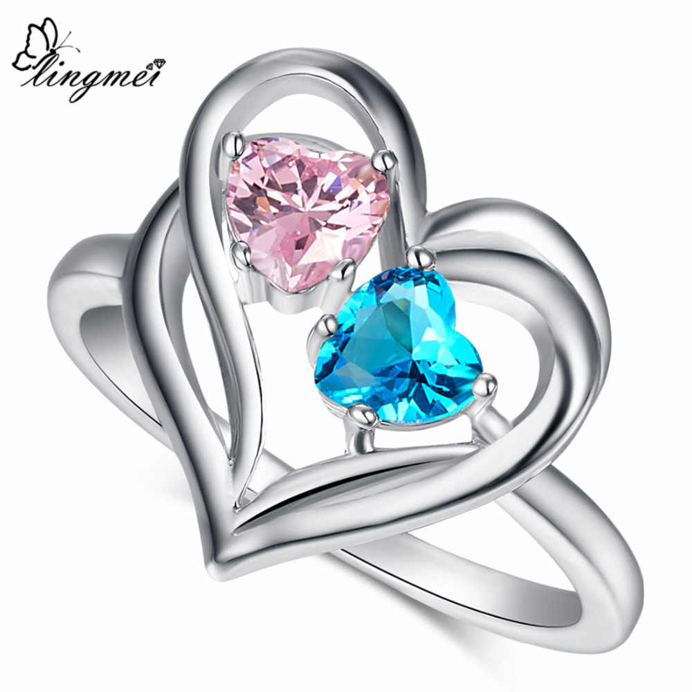 lingmei Wholesale Drop Shipping Blue Pink Red Green CZ White Gold Color Ring Size 6 7 8 9 10 for Women Rings Wedding Heart Gift