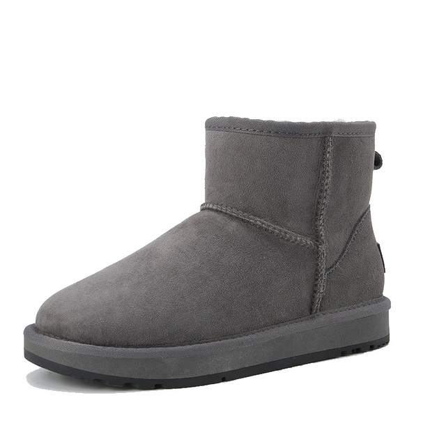 735b34146868 INOE Leather Boots Women Fur Lined Boots Grey Female Booties Ankle Classic Winter  Footwear Sheepskin Snow Boots Shoes Size para