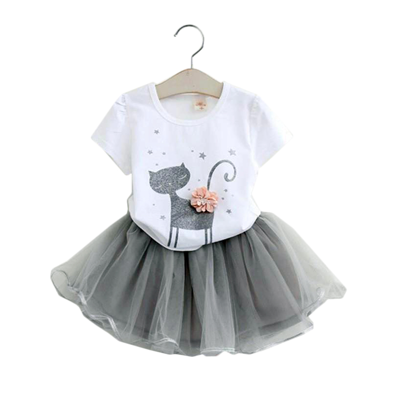 2 3 4 5 6 7 8 Years Girls Clothes 2018 New Summer Children Clothing Sets Cute Cat T-shirt Tutu Skirts Kids Suits for Girls