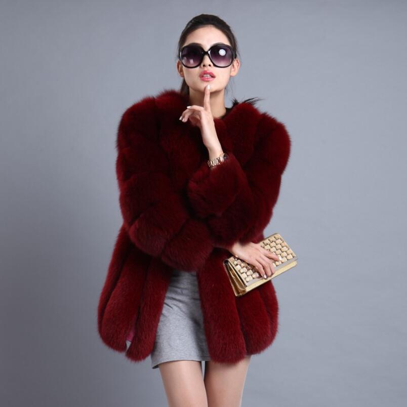 Women Brand Fur Coat Winter Women Long Faux Fox Fur Coats Furry Luxury Womens Fake Fur