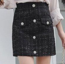 цена на 100kg Womens Pocket Button High Waist Tweed Skirt for Women Black Plaid Short Skirt Plus Size Female Streetwear Skirt Jupe Femme