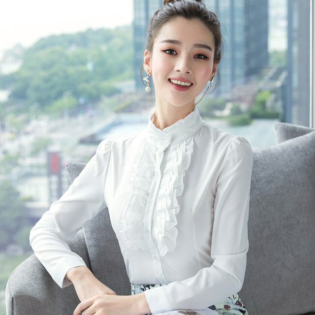 44cac1f0c0e40 Camisa blanca mujer de Manga Larga de cuello alto Gasa de la blusa Camisas  Tops de