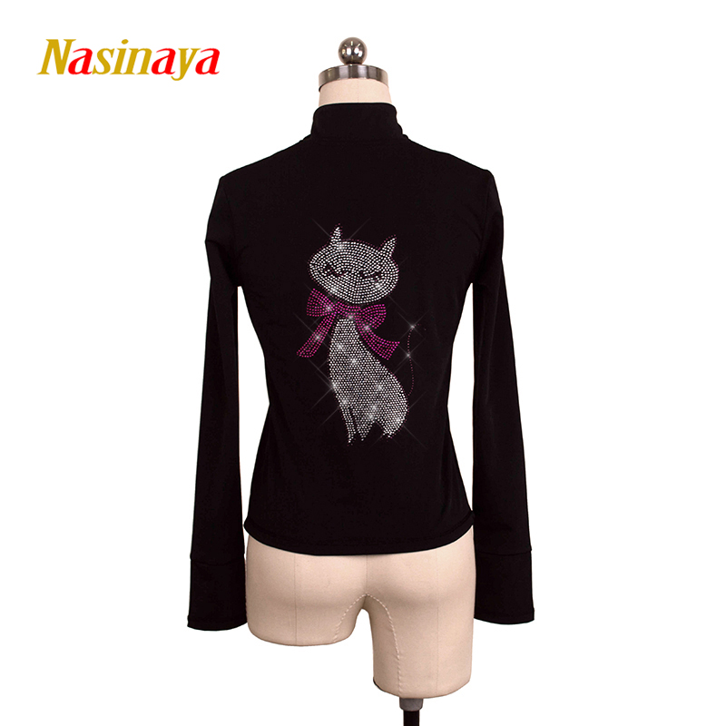 Customized Figure Skating Jacket Zippered Tops for Girl Women Training Competition Patinaje Ice Skating Warm Fleece Gymnastic 35