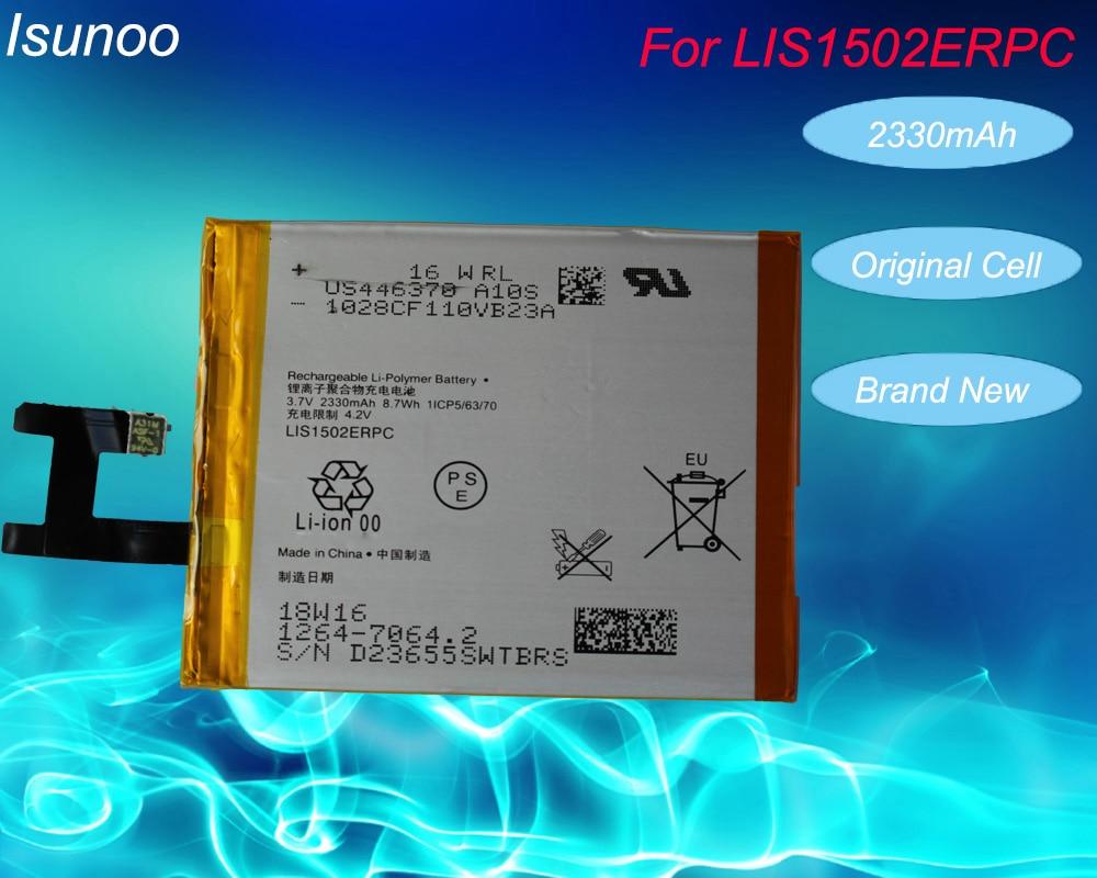 ISUNOOO LIS1502ERPC Reale 2330 mAh batteria Per Sony Xperia Z L36h L36 c6602 C6603 S39H C2305 M2 S50H D2303 D2305 D2306 batteria