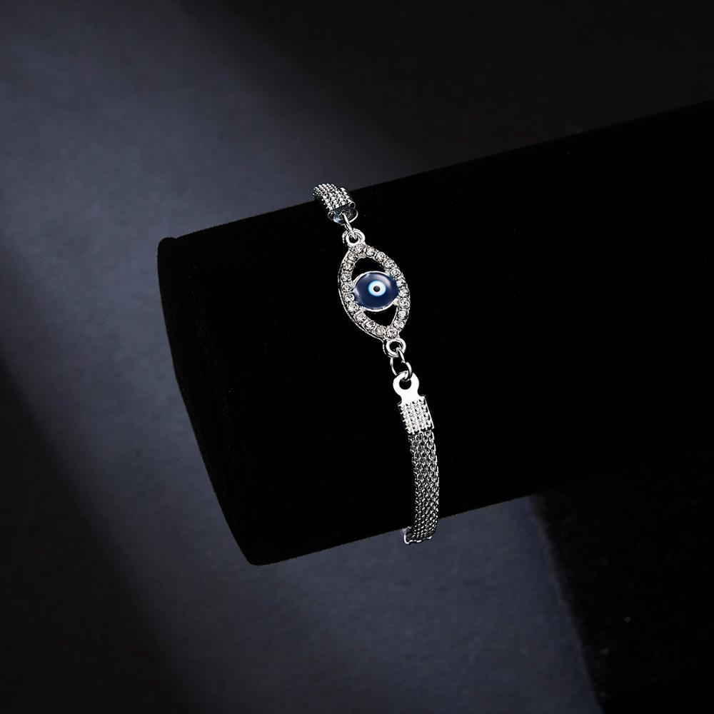 Серебряный браслет регулируемый горный хрусталь синий глаз звезда рука Пальма Seastar маленький кот шарм браслеты для женщин Свадебные украшения