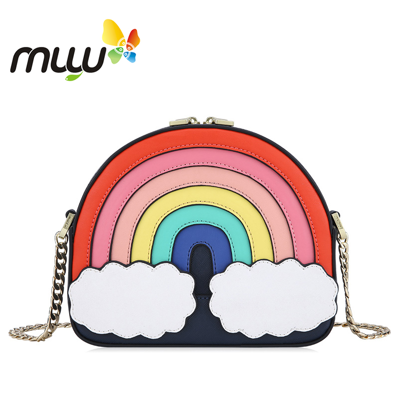 Muyu 2018 Japan Style Cute Rainbow Pattern Half Moon Women Shoulder Bag Soft PU Long Chains Ladies Crossbody Bag 2000510 цена