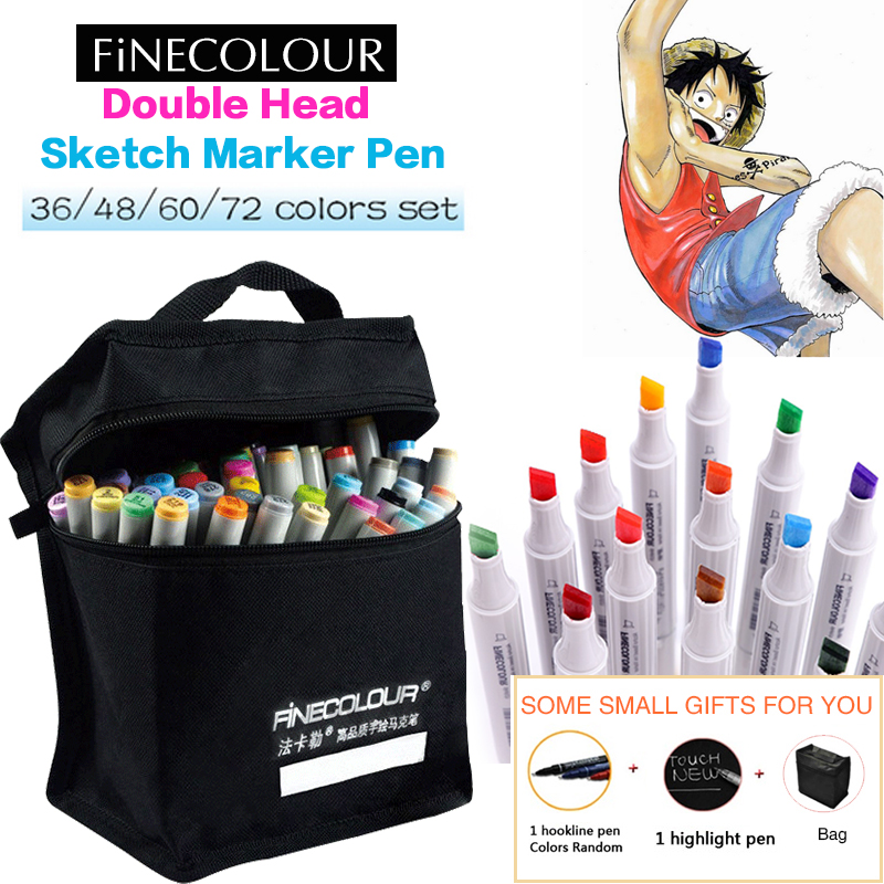 Finecolour 160 Colors Marker Set Student Double Headed Sketch Alcohol Based Marker Pen Animation Set Paint Drawing Art Markers 80 colors painting art marker pen alcohol marker pen cartoon graffiti dual headed sketch markers set art supplies black white