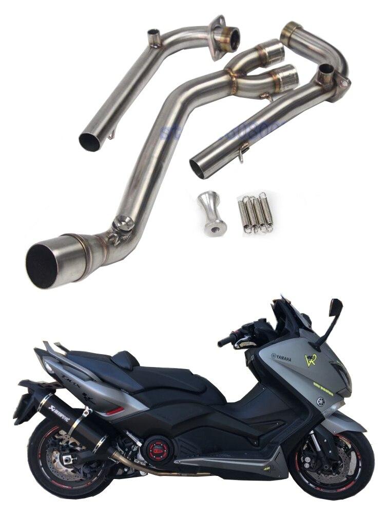 TMAX530 moto système complet d'échappement en acier inoxydable moyen lien tuyau pour Yamaha TMAX500 530 T-MAX530 T-MAX500 sans échappement