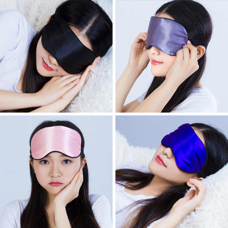 1pcs Eye Cover Silk Sleep Eye Mask Sleeping Padded Shade Patch Eyemask Blindfolds Women Men Travel Relax Rest