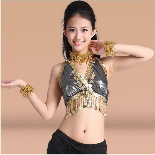 New Arrival Satin Belly Dance Top Momen Gold Coins Sleeves   Belly Dance Tops 9 Colors Sexy Tops