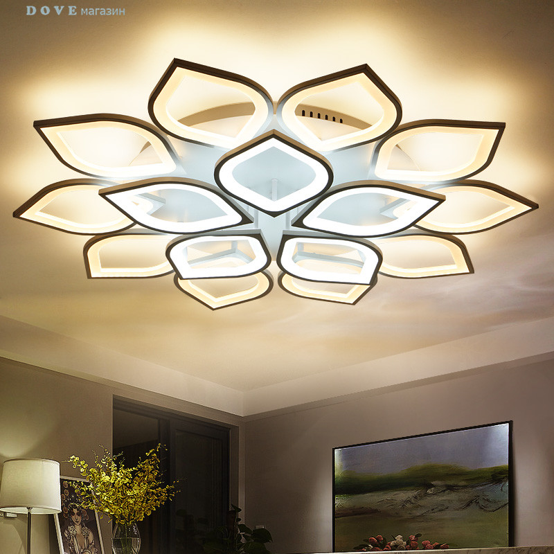 LED ceiling lights for living room bedroom decoration lighting fixtures AC90~260V dimming Lampara de techo para sala de estar noosion modern led ceiling lamp for bedroom room black and white color with crystal plafon techo iluminacion lustre de plafond