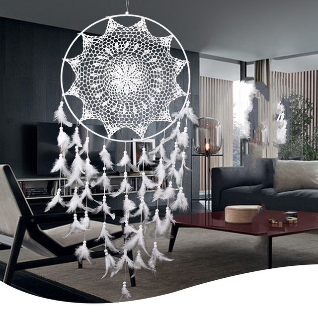 Large White Handmade Dream Catcher With Feathers Wall Hanging Decoration  Home Garden Living Room Ornament Dreamcatcher