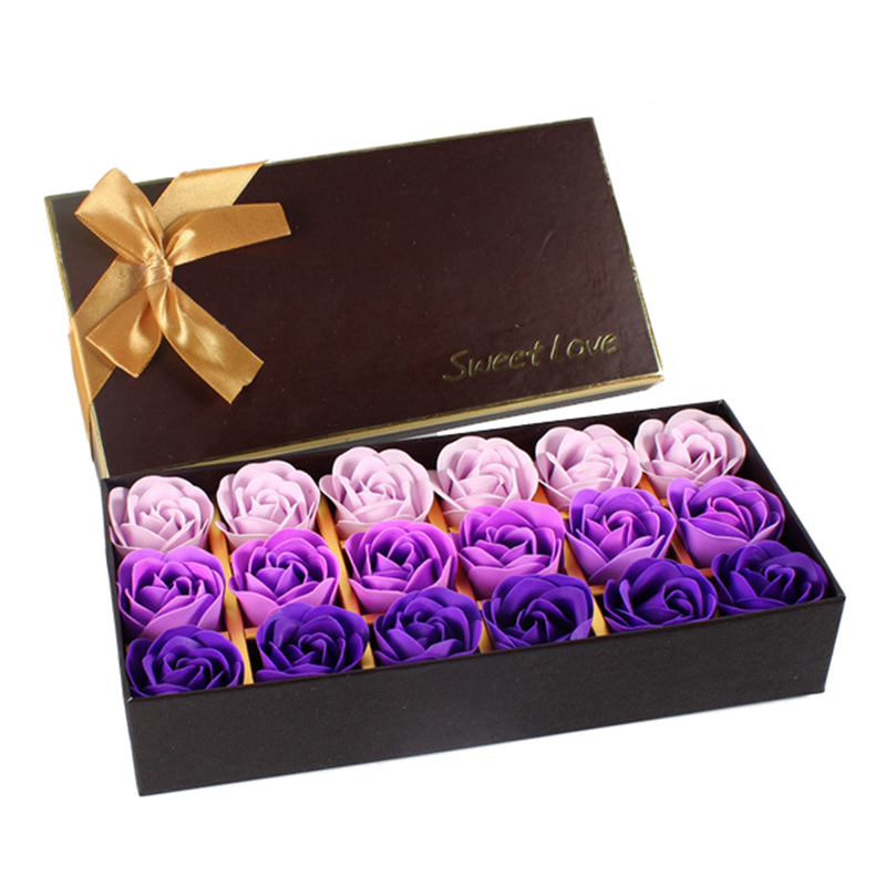 18Pcs Creative Gradient Simulation Rose Soap Flower Purple