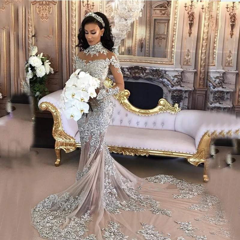 Buy Used Wedding Gowns: Aliexpress.com : Buy Sparkly Silver Mermaid Wedding Gowns