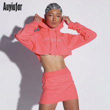 Auyiufar Reflective Letter Casual Women Matching Sets Neon Color Fashion Hooeded Outfits Long Sleeve Crop Top And Skirts Set New