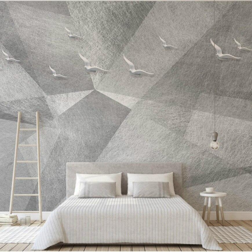 Gratis Pengiriman Bedroom Wallpaper Mural Abu abu Elegan Putih Merpati Terbang Indah Wallpaper Dari Cina Pemasok