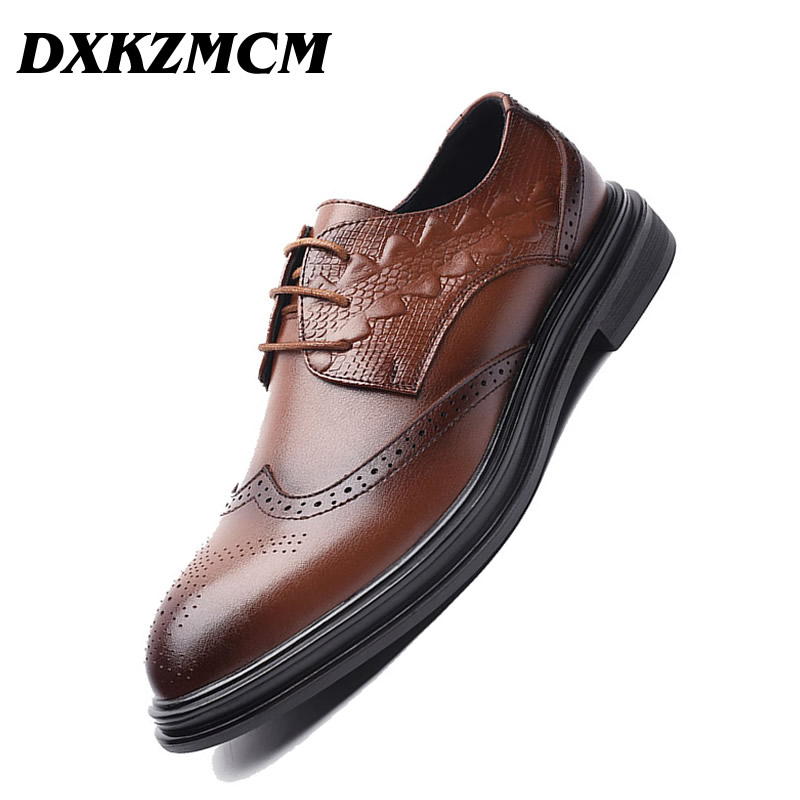 DXKZMCM Handmade Men Flat Leather Men Oxfords, Lace-Up English Carved Business Men Formal Shoes, Men Dress Shoes цены онлайн
