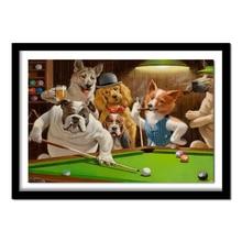 Собаки играющие Бассейн Бильярд 5D Diy Полный Алмазная картина вышивка наборы кристалл горный хрусталь картина алмазный подарок ремесла
