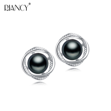 2018 Fashion Pearl Earrings Natural Freshwater black 925 Sterling Silver Jewelry For women