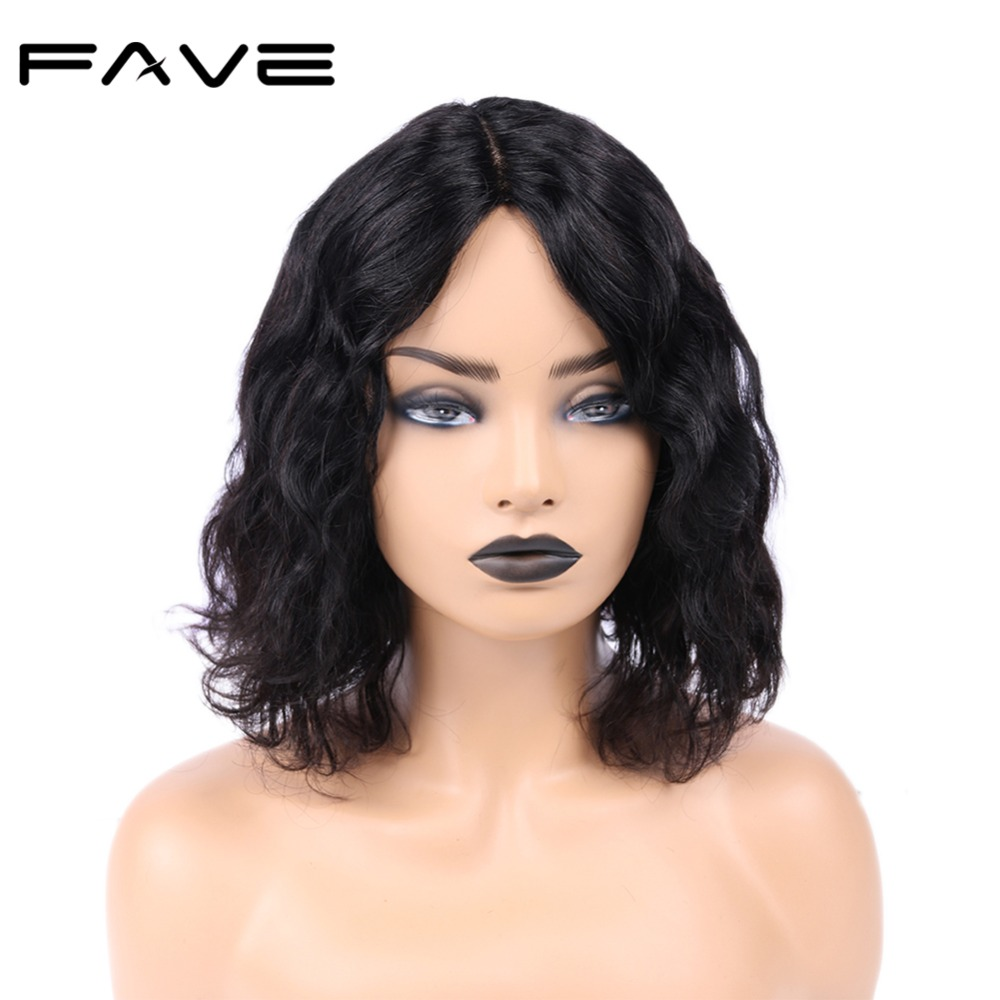 FAVE Hair Lace Part Bob Wig Natural Wave Brazilian Human Remy Hair Wig Half Hand Tied Middle Part Free Wigs Shipping 12 Inches