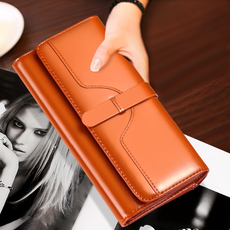 Ladies Button True Leather Wallet Womens Long Banknote Clip Zipper Multi-Card Cowskin Lady WalletLadies Button True Leather Wallet Womens Long Banknote Clip Zipper Multi-Card Cowskin Lady Wallet