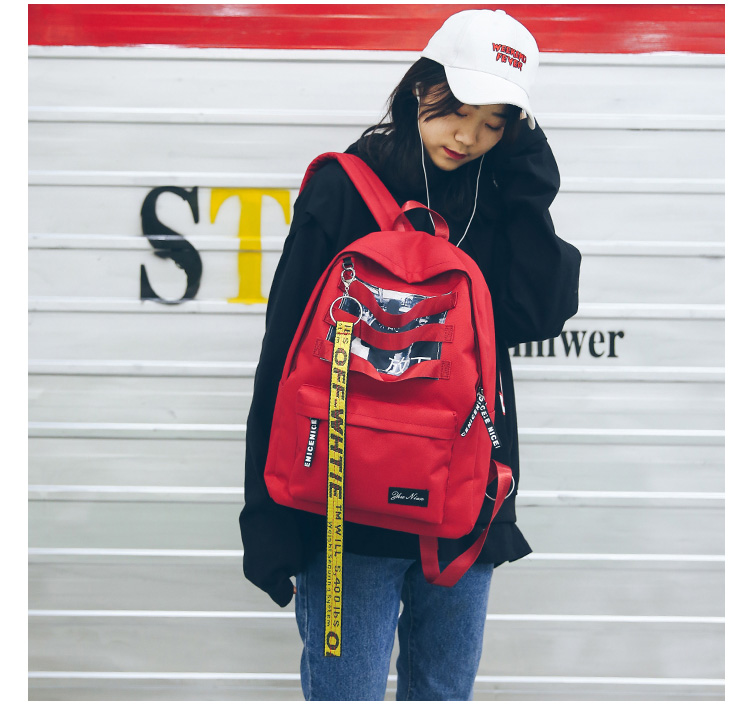 Long Ribbons School Bags for Teenage Girls Nylon Backpack Korean Harajuku Ulzzang Student Mini Backpack Women Large School Bags