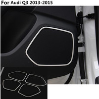 High Quality For Audi Q3 2013 2014 2015 Car ABS chrome Car Inside Audio Speak Sound Cover Ring circle lamp trim 4PCS
