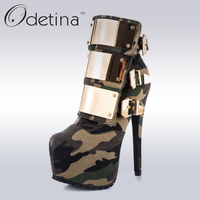 Odetina 2017 Brand Women Stiletto High Heel Pointed Toe Ankle Boots Buckles Ladies Camouflage Boots Platform