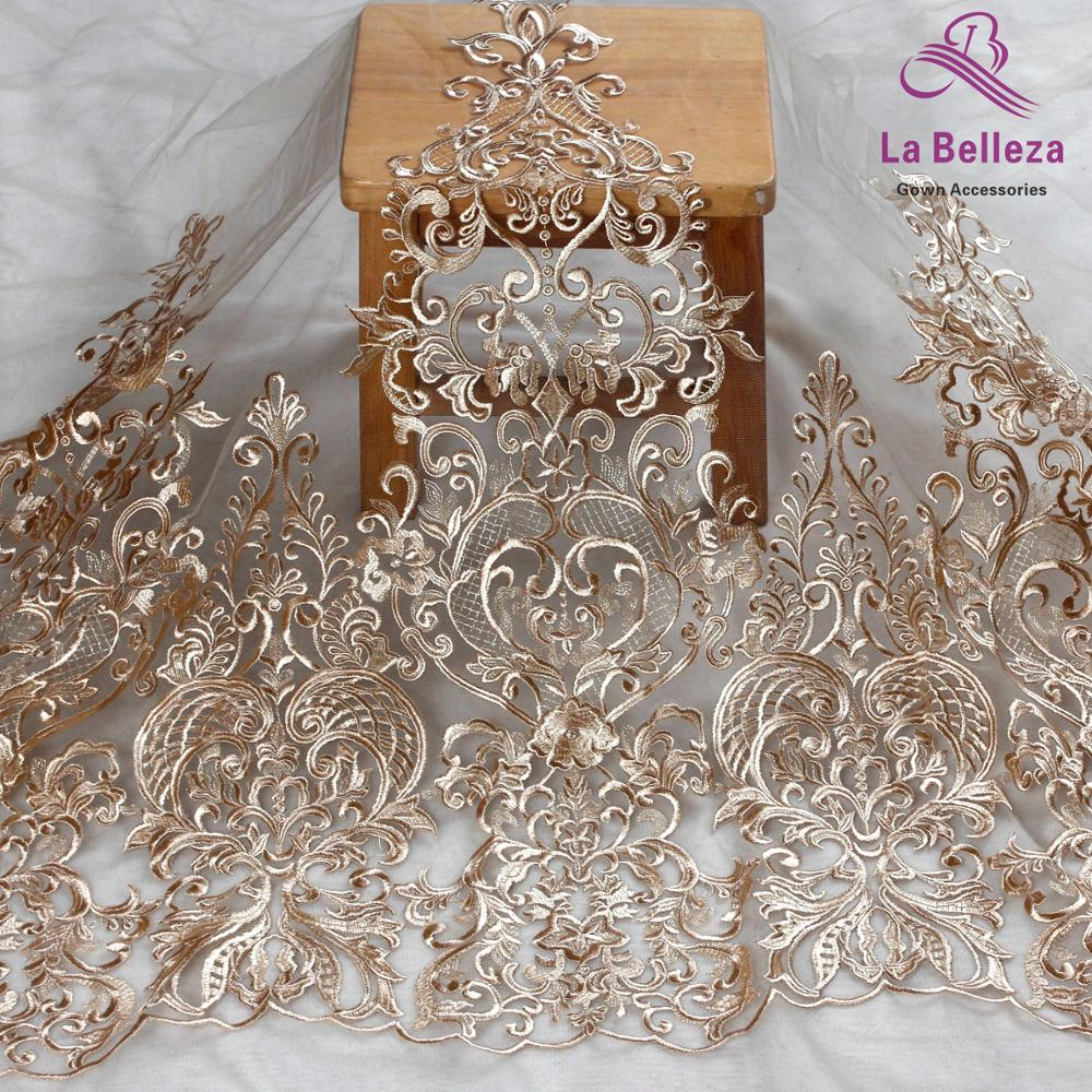 La Belleza 2019 new 75cm width beige lace,gray lace trim ,gown lace trim for bridal accessories 1 yard