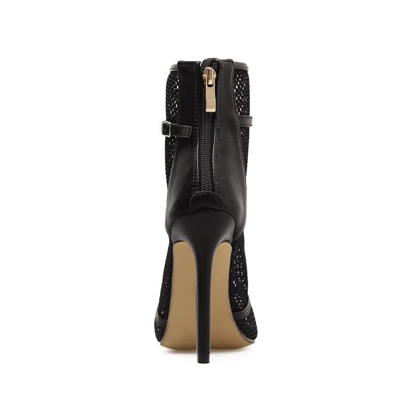 Обувь пикантные сетчатые Strappy рыбий рот Обувь Высокие каблуки чистая Пряжа Лето Сандалии для девочек Для женщин Сапоги и ботинки для девоче...