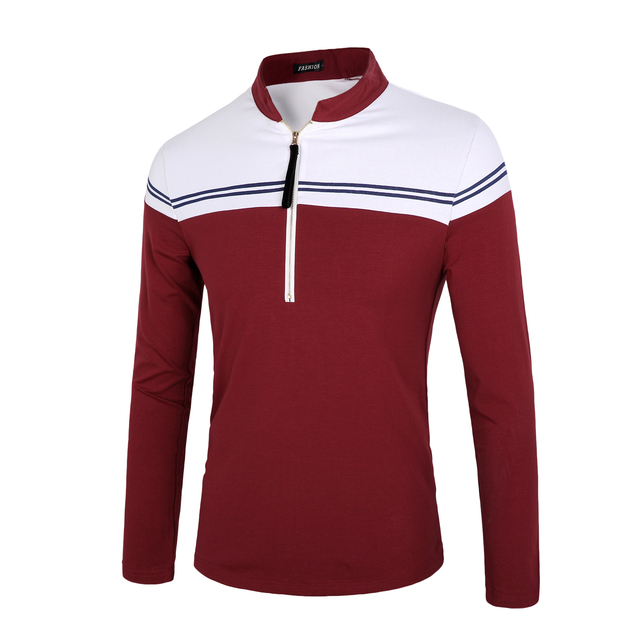 good quality cotton long sleeve polo shirts men 2016 autumn slim fit casual polo shirts male zipper size 3xl
