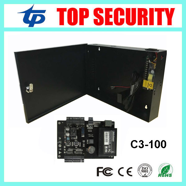 C3-100 zk access control panel linux system TCP/IP communication one door access control system 110-240V 12V5A power supply box