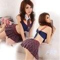 Uniforme escolar sexy Dessous Rainha Fantasia Seductive Girl Costume Outfit Cachecol New Sexy Estudante Cosplay Vestido Set Lingerie