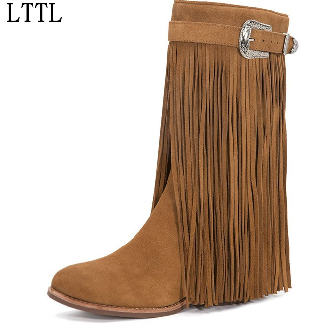 Autumn Winter New Suede Leather Female Fashion Fringe Boots Sexy High Heel Long Tassel Mid-calf Boots Tide Women Mid-Calf Boots