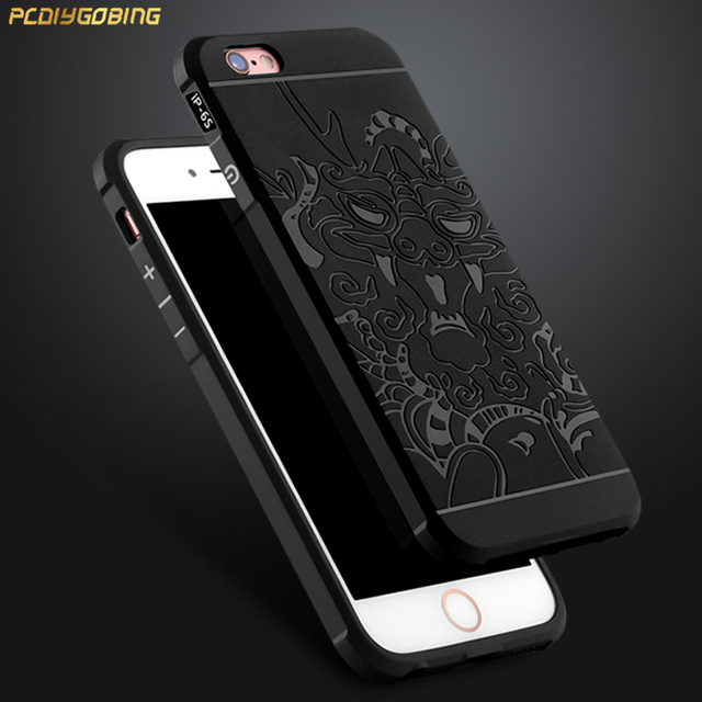 quality design 57b13 f9d17 US $5.52 |PCDG For iphone 6s Plus Case 3D carved Dragon Soft Silicon back  cover For Apple iPhone 6 Plus case scrub Cover for iPhone SE-in Fitted  Cases ...
