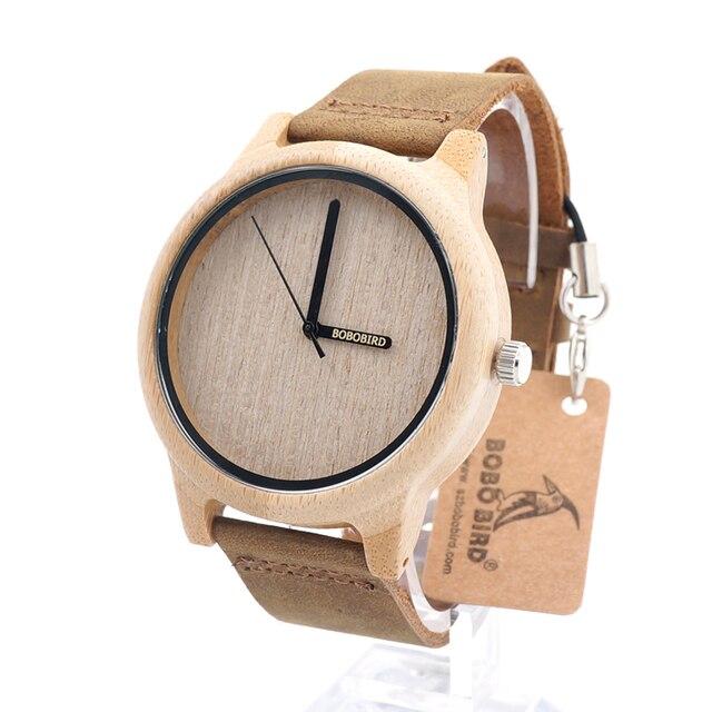 BOBO A22 de AVES Vintage Para Hombre Ronda de Cuarzo Relojes de Pulsera Con Banda de Cuero Real De Madera De Bambú en Caja