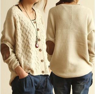 Caliente venta de la rebeca Feminino mujeres que hacen punto la capa del suéter Elbow Patch Cardigan Sweater Coat mujeres XQ947
