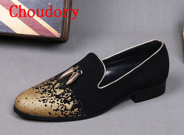 Choudory 2017 zapatos hombre italian shoe brands gold dress shoes men black  moccasins mens loafers flat 1a03cc236f2d