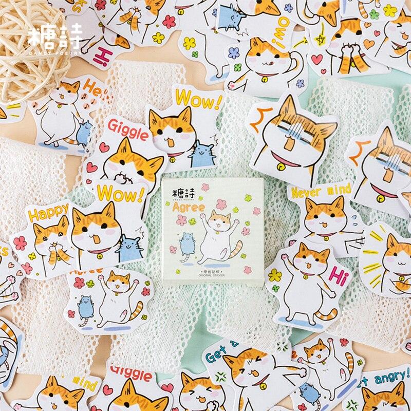 45 Pcs/box Ts Cute Cartoon Cat Pet Animal Mini Paper Sticker Decoration Stickers DIY Diary Scrapbooking Planner Label Sticker